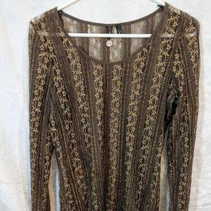 Sheer brown and gold BKE long sleeve shirt top